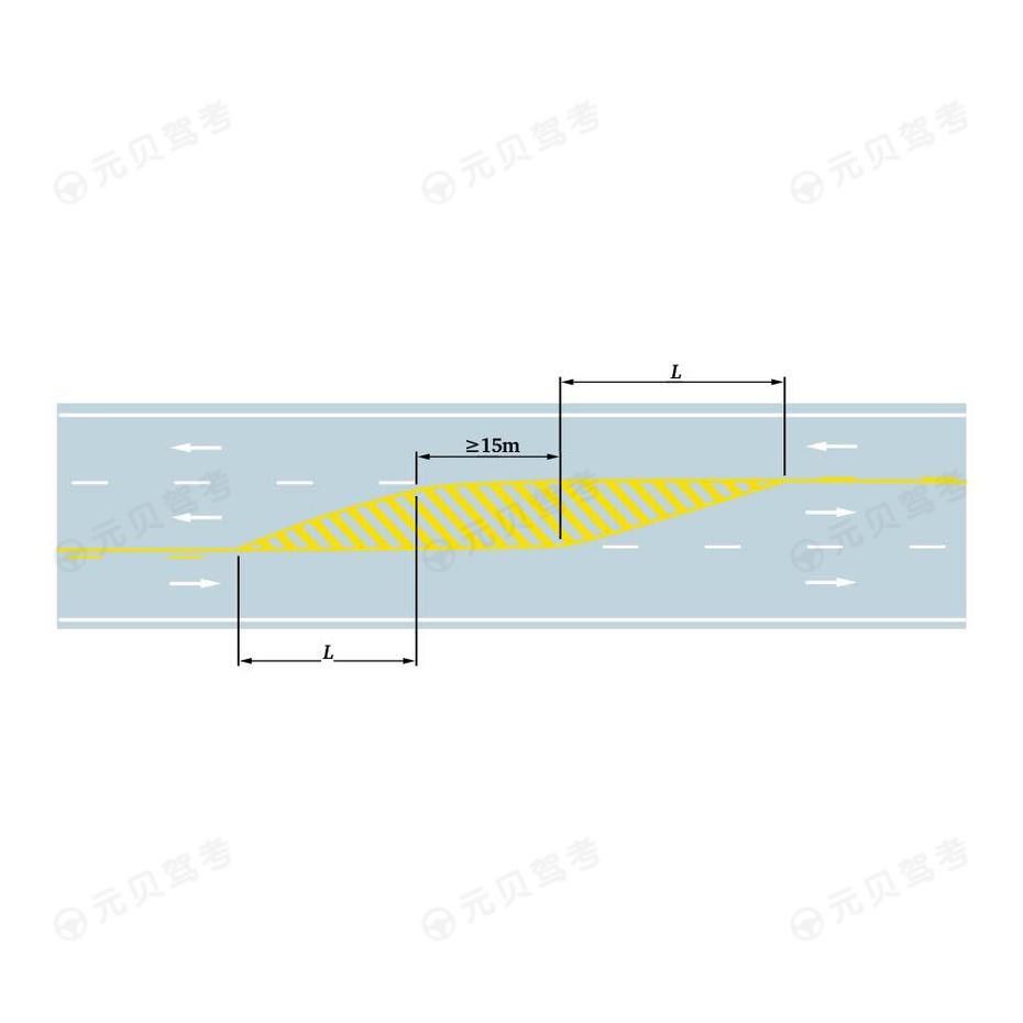 三车行道道路直线段黄色虚实线