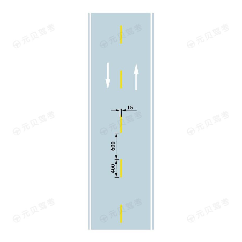 可跨越对向车行道分界线(可跨越道路中心线)
