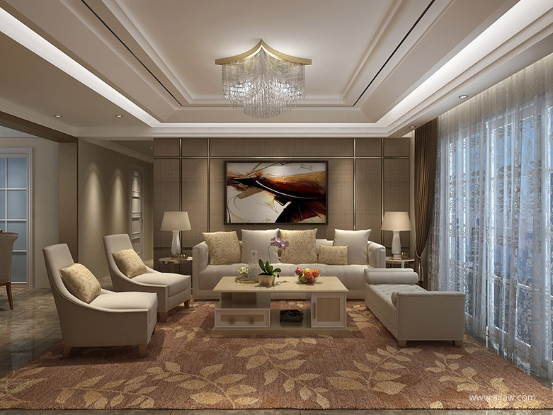 白色家具配深棕色边框效果图