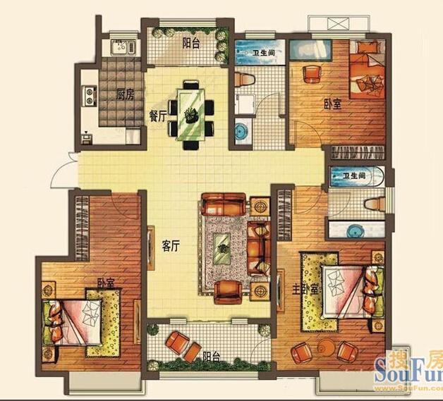 名士豪庭150平米户型图