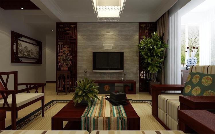 该案电视背景墙的设计采用木质花雕结合木纹石的合理