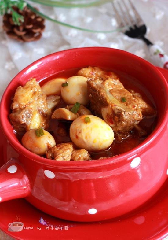 口蘑鹌鹑蛋烧排骨 - 叶子的小厨 - 叶子的小厨