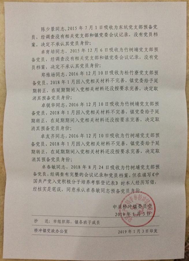 举报陆丰市桥冲镇东竹村党总支部书记卓小琼涉嫌违法违纪