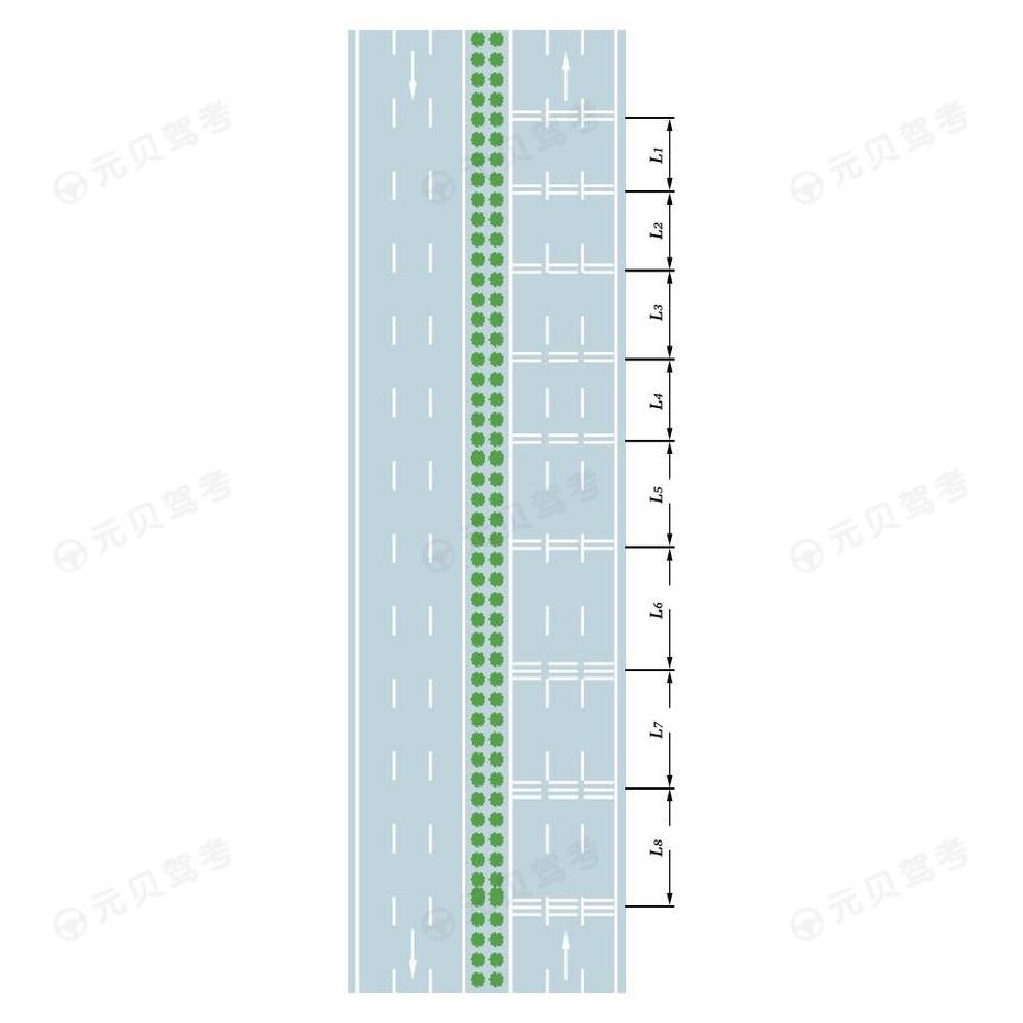 车行道横向减速标线设置示例