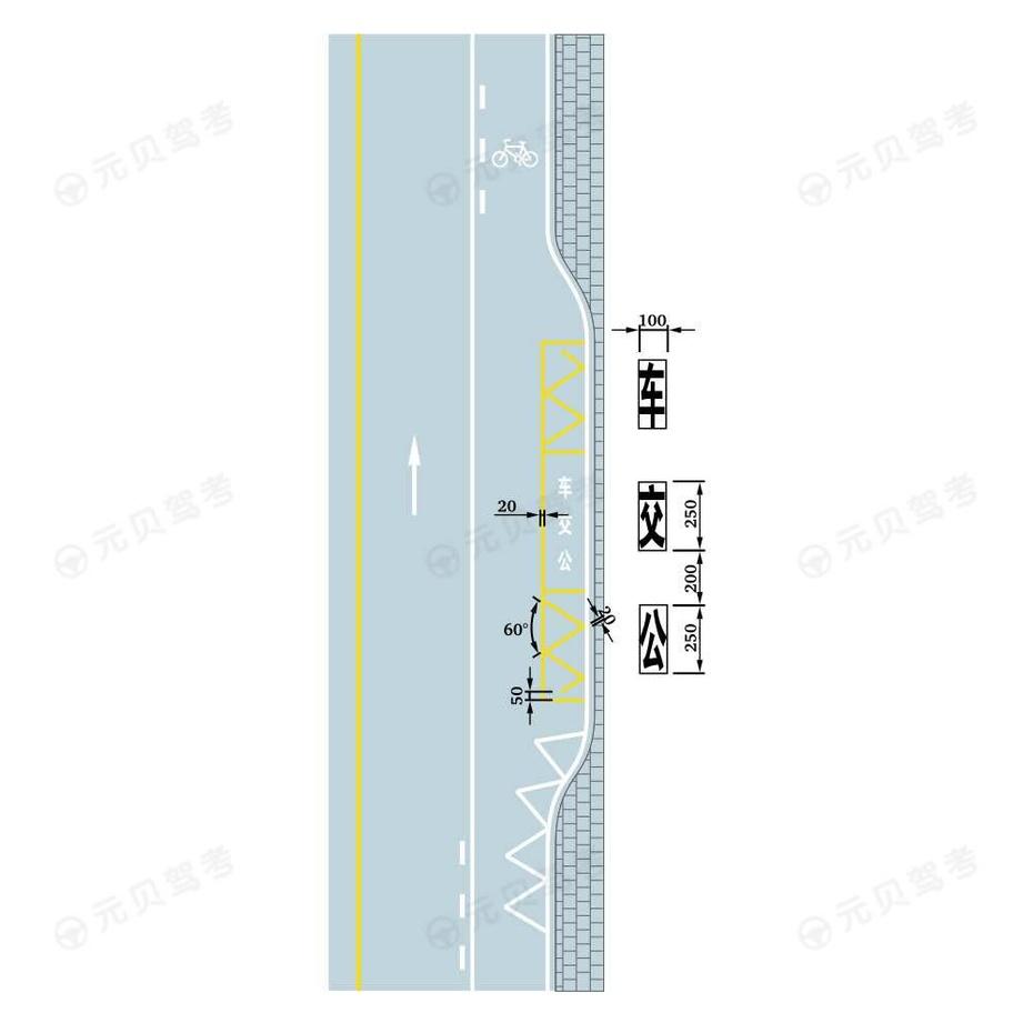 车种专用港湾式停靠站标线