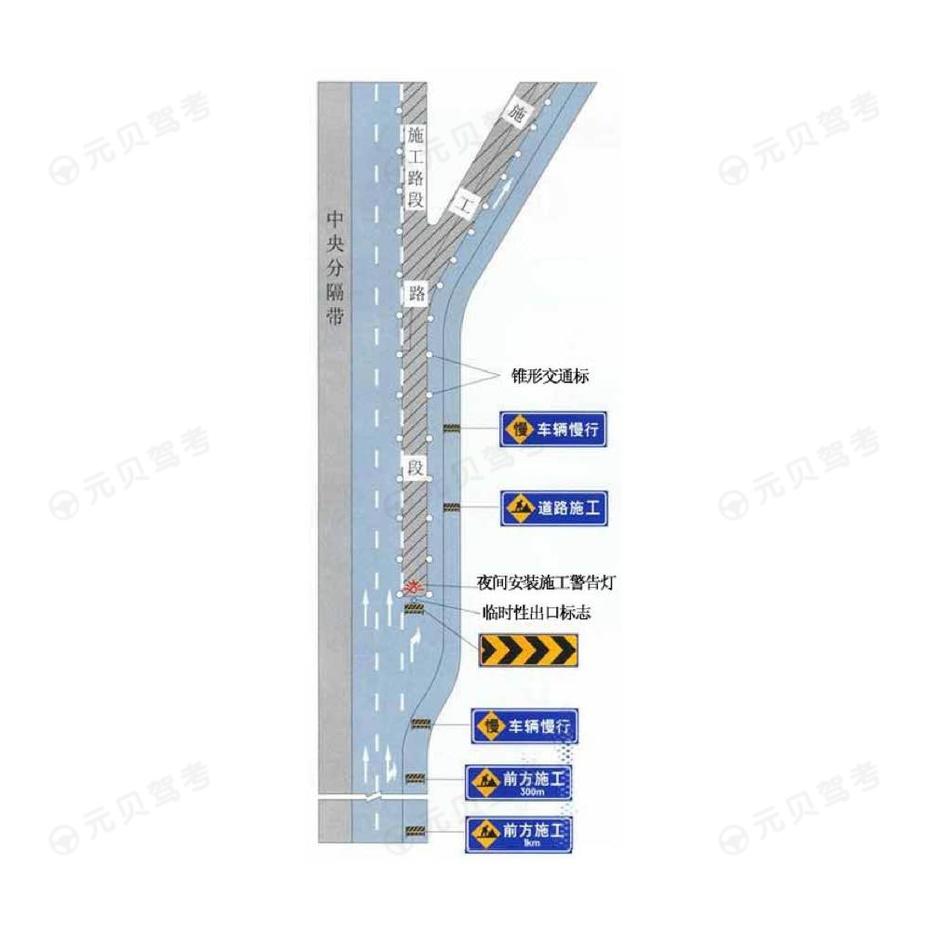 高速公路出口三角地带附近施工