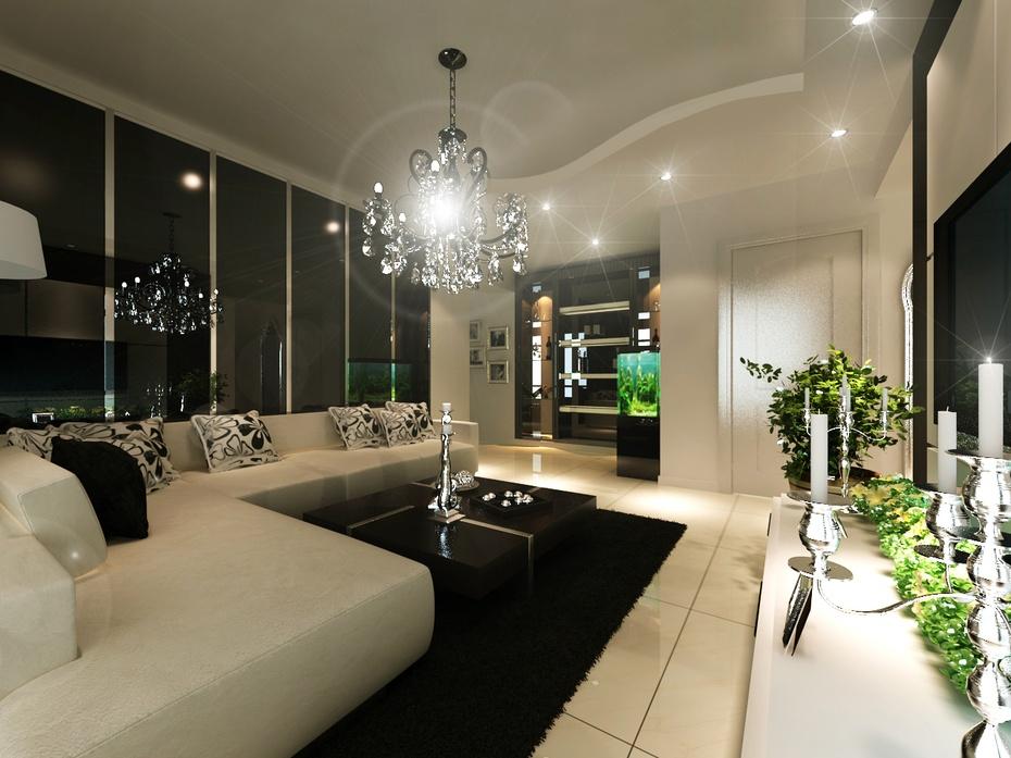 现代简约时尚装修美居-济南实创装饰-客厅设计-鱼缸的摆放位置