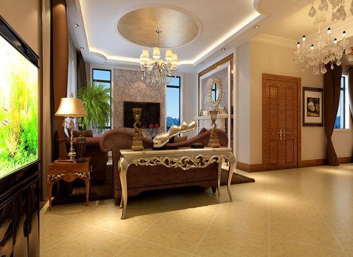 石膏造型和大理石背景墙让奢华与现代交替出现