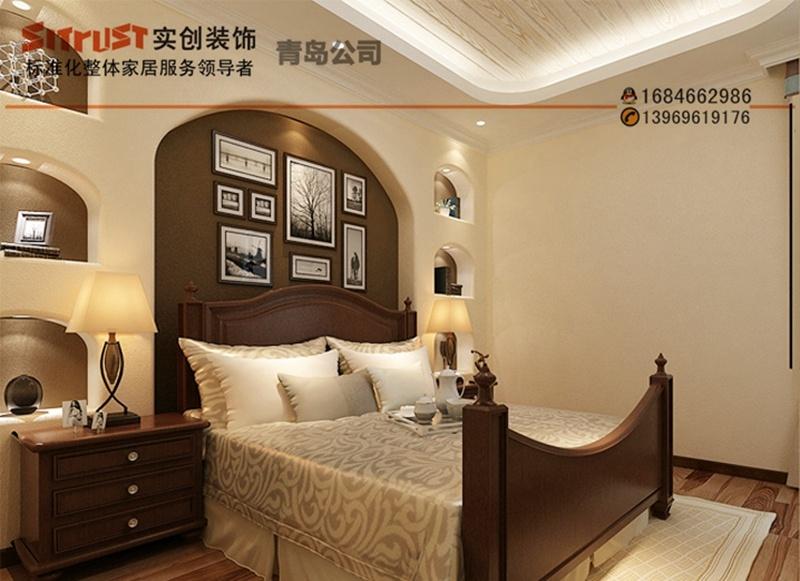 美式乡村风格全包装修案例效果图-卧室设计   青岛实创装饰装