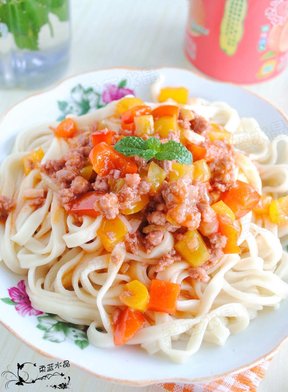 色香味俱全的一碗青椒肉酱面 - 慢美食博客 - 慢美食博客 美食厨房