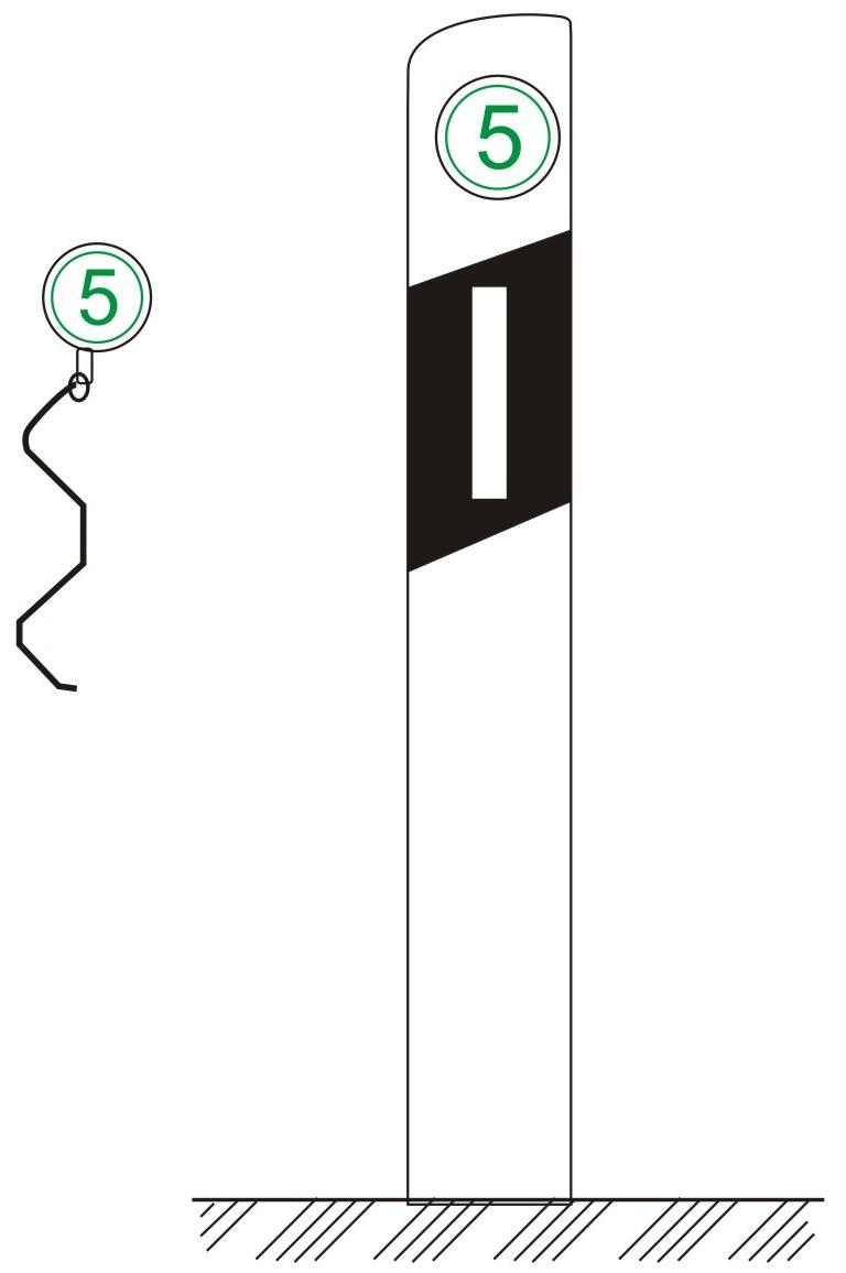 百米牌百米牌为圆形,直径一般为10 cm,绿底白字,百米数字字高5 cm,公里数高1. 8 cm。设在高速公路或城市快速路两侧各里程牌之间,每隔100 m设一块。百米牌可附设于两侧的柱式轮廓标上;也可附设在波形梁护栏等设施上。