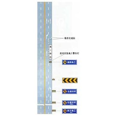 同向車道中有一條車道路面施工