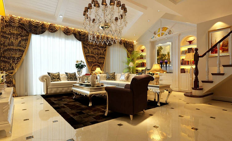 欧式尖顶客厅造型图片欣赏