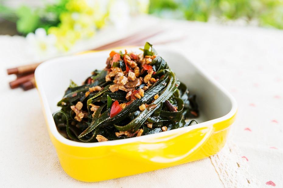 比蚂蚁上树还好吃的肉末海带丝,常吃美颜瘦身-狼之舞 - 荷塘秀色 - 茶之韵