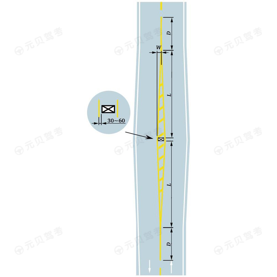 双向两车行道中心有障碍物标线