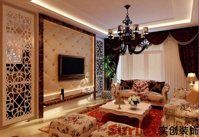 现代简欧味道,时尚的米白色调沙发与电视背景墙的