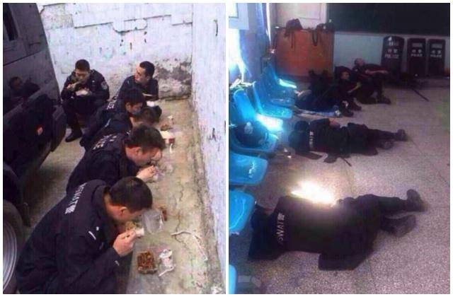 反恐民警蹲地吃盒饭、席地而睡暴露了部队的弱点