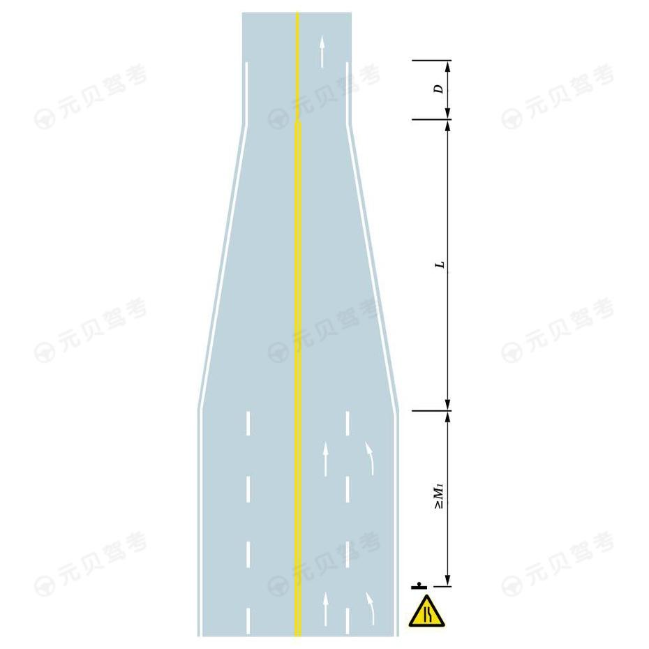 四车道缩减为双车道
