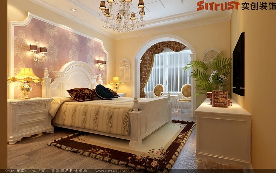 175平米-简约欧式风格整体装修案例方案效果装修图-卧室设计高清图片