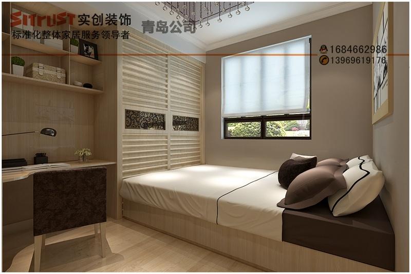 远洋自然86平米-现代简约风格全包装修案例效果图-次卧设计-青岛实