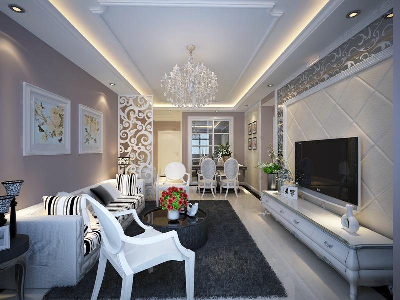 89平米 现代简约风格装修案例 青岛实创装饰
