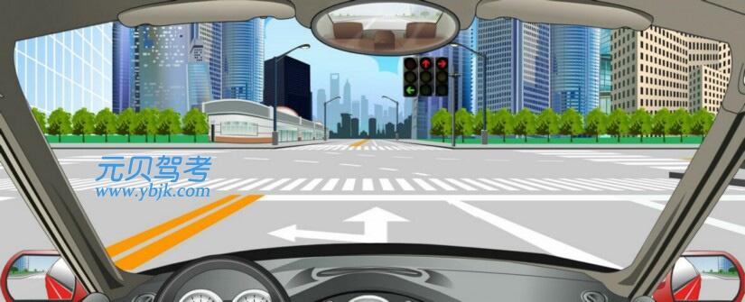 这个路口允许车辆怎样行驶?A、向左转弯B、直行C、直行或向右转弯D、向右转弯答案是A
