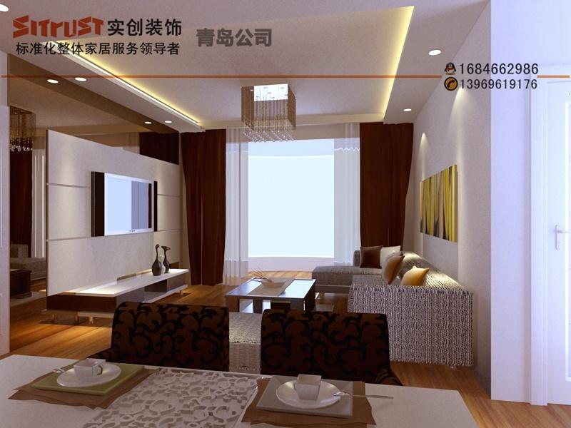 装修效果图   青岛实创装饰 银座广场111平米 温馨现代简约