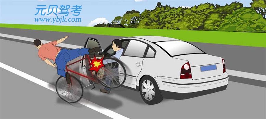 这辆小型汽车驾驶人错在哪里?A、没有开启转向灯B、没有鸣喇叭警示C、未观察左后方情况D、驾驶人没有错误答案是C
