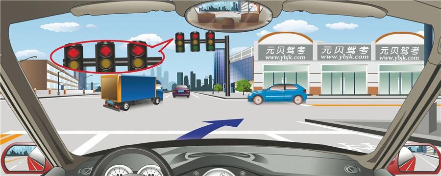 驾驶机动车在这个路口可以直接向右转弯。答案是错