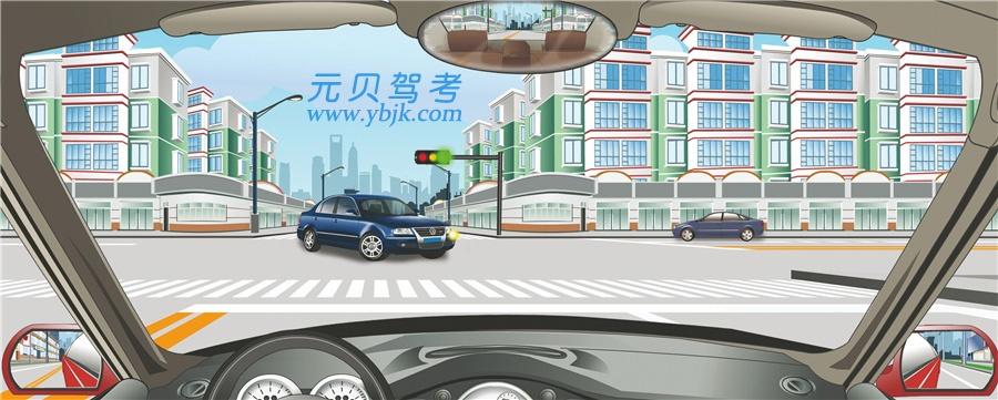 驾驶机动车在路口直行遇到这种情况怎么办?A、鸣喇叭示意其让行B、加速从车前通过C、开前照灯示意其让行D、减速或停车让行答案是D