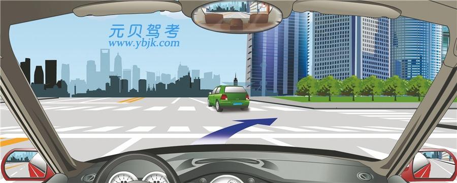 驾驶机动车在这个路口右转弯可以不变更车道。答案是错