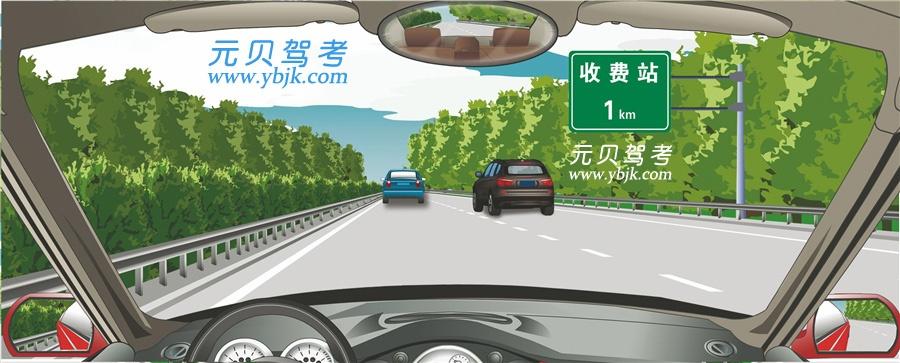 右側標志提示距離設有電子不停車收費車道的收費站1公里。答案是錯