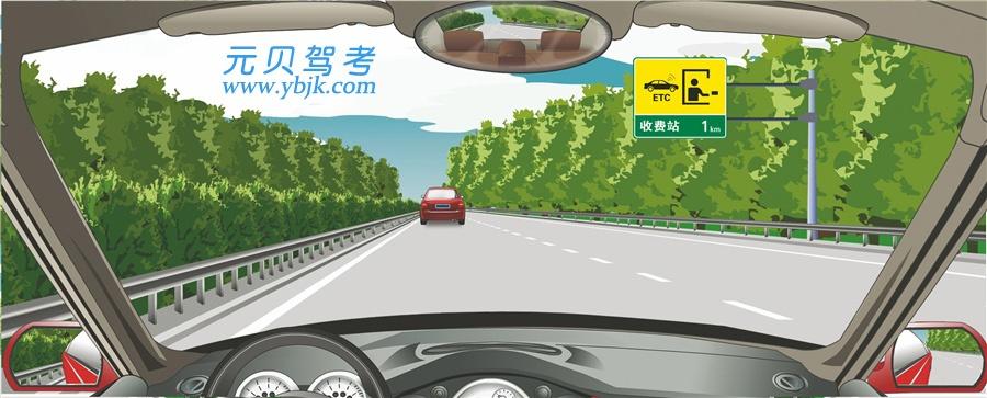 右側標志指示距離設有電子不停車收費車道的收費站1公里。答案是對