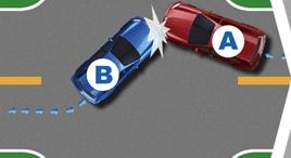 无信号灯路口右转车辆未让左转车