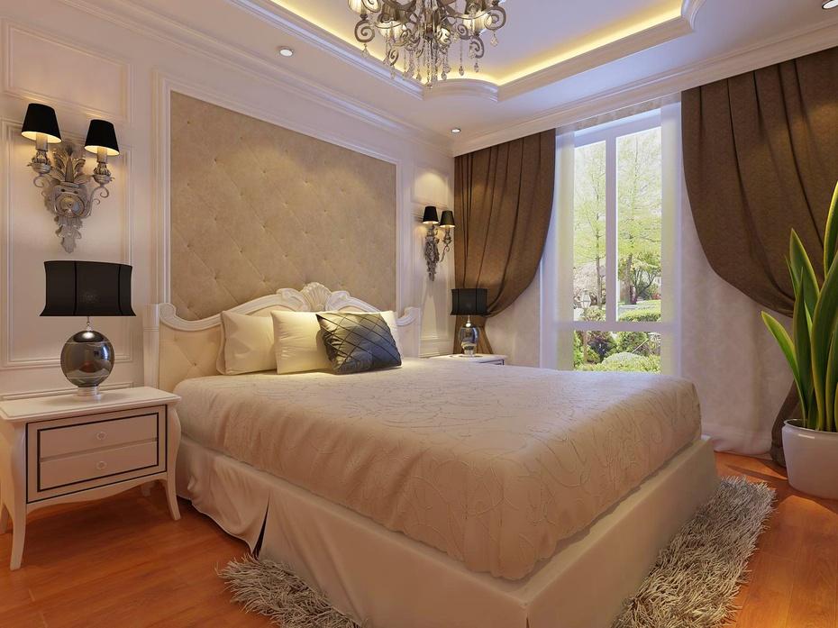 欧式风格搭配欧式新古典床和床头柜更显大气,沉稳.