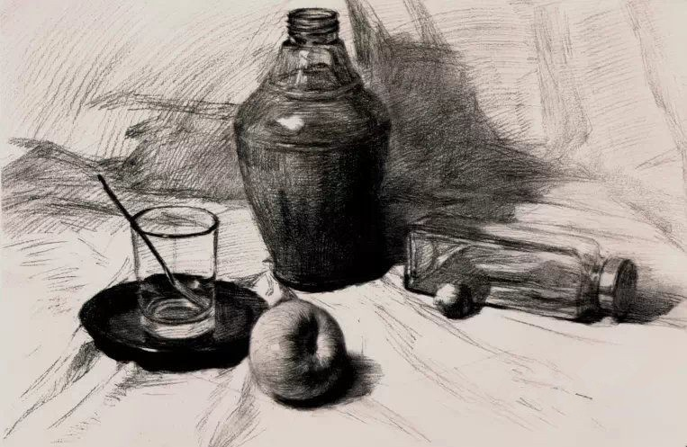 素描静物玻璃器皿组合画法教程