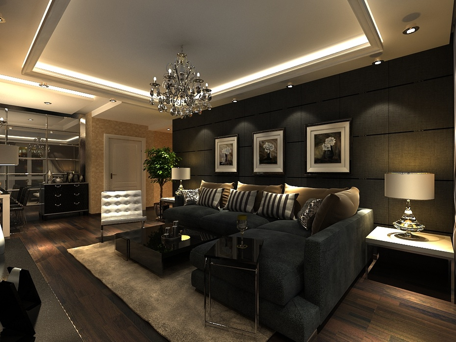 现代简约风格 90平米装修 客厅效果图