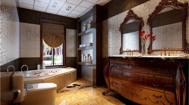 广州实创装饰 东城华庭 欧式风格 120平米装修 卫生间效果图