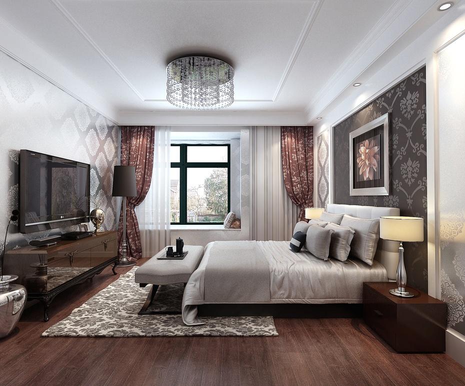 实创装饰|中海金沙府 195平米 现代简约风格 主卧室装修效果