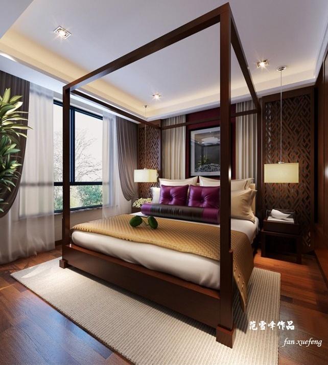 鹏润伊顿公馆88平米新中式风格装修效果图