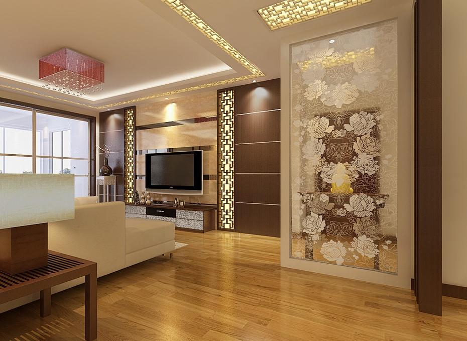 万业紫辰苑106平米现代中式风格装修效果图