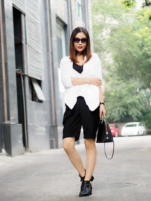 白色茧形衬衫外套+黑色西裤 - 猫大妞 - 猫大妞