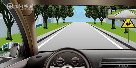 如图所示,驾驶机动车看到这个标志时,应及时减速注意观察。答案是对