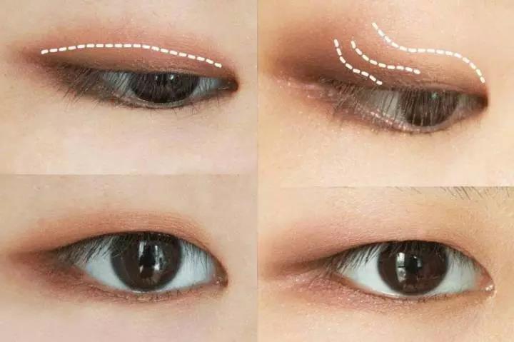 3、肿内双能不能用珠光? 这对内双的人来说有点尴尬,因为涂不匀会掉一脸,还会被内双折进去,也不是说绝对不能。要是实在喜欢blingbling的感觉,可以着重在眼角和卧蚕区涂一下,这个效果也是一样的,清澈不显脏。  4、肿内双眼影只能用大地色系? 毫无疑问,淡粉色是肿眼皮的死敌。但是我们可以选择带点棕色调的非棕色系。 像珊瑚粉那种会导致效果很不理想,但是可以选择明度暗一点的粉色,带点棕色调,像粉棕色那样。像砖红色和南瓜橘那些颜色,真的可以大胆用,因为有明显的消肿效果。  5、肿内双要不要画眼线? 如果是睫