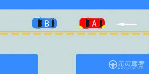如图所示,A车可以从左侧超越B车。答案是错