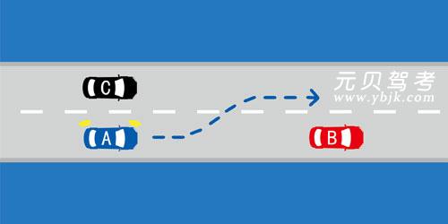如图所示,在这种情况下,A车可以向左变更车道。答案是错
