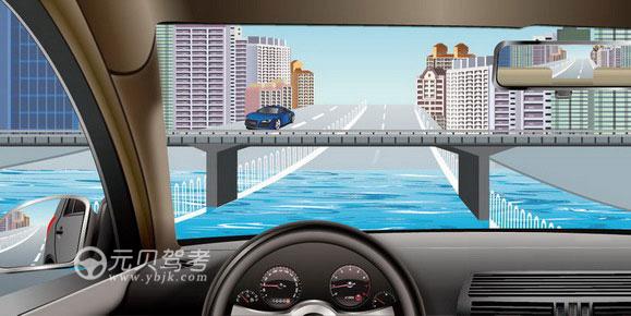如圖所示,駕駛機動車遇到這種情況時,以下做法正確的是什么?A、應減速觀察水情,然后加速行駛通過B、應停車察明水情,確認安全后,低速通過C、應停車察明水情,確認安全后,快速通過D、可隨意通行答案是B
