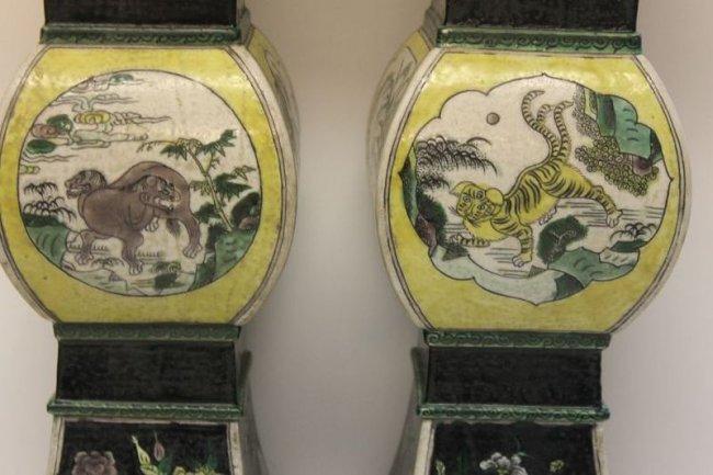 博客31:藏品分享--康熙素三彩异兽花卉纹花觚