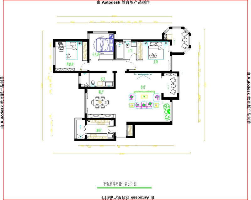 国赫红珊湾7号楼1单元170平面简欧风格平面设计方案及效果图 - 石家庄品界国际装饰 - 石家庄品界国际装饰