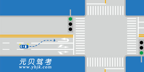 如图所示,础车要在前方掉头行驶,可以在此处变换车道,进入左侧车道准备掉头。答案是错